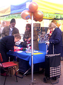 Pauline signing her book