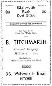 B Titchmarsh, an advertisement for the Walsworth Road Post Office