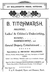 An advertisement for B. Titchmarsh, Millinery, Hosiery, Haberdashery and General Drapery Establishment