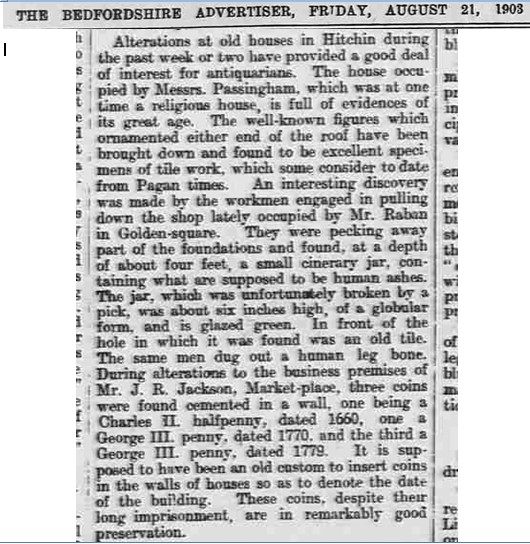 Reported in Beds Advertiser 1903